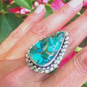 Vintage Chrysocolla 925 Stamped Ring